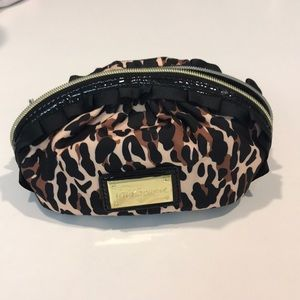 Small Betsey Johnson leopard polyester makeup bag